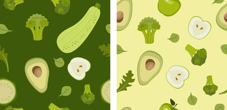 Vegetables Seamless pattern. Broccoli, zucchini, avacado, basil, apple. Illustration for backgrounds, card, posters, banners, textile prints, cover, web design. Eat healthy. Vector icons.