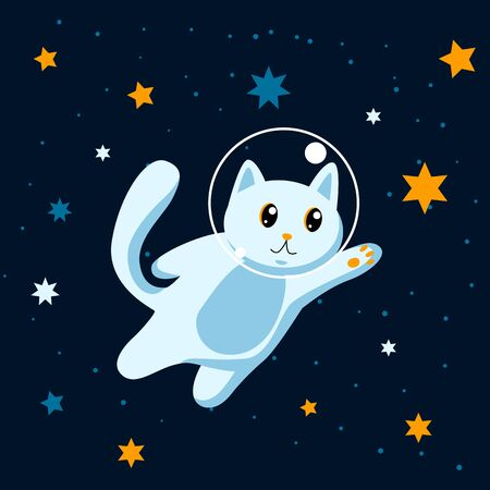Cat astronaut among stars in space Vettoriali