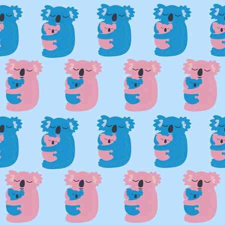 Cute koala seamless pattern. Vector illustration.