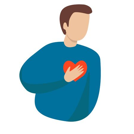 A man with a heart condition. Vector illustration