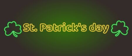 Neon lettering St. Patricks day adn shamrock. Light banner. Stock Illustratie