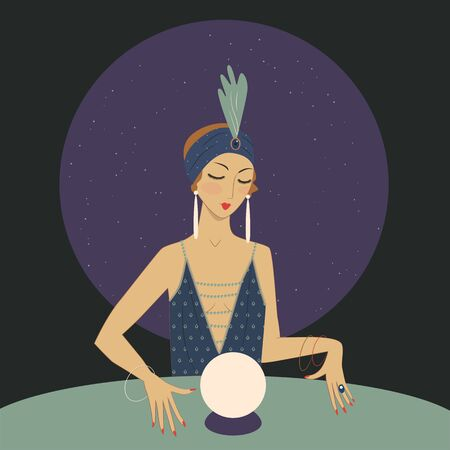 Spiritual girl with crystal ball is guessing. 1920s style illustration Illustration