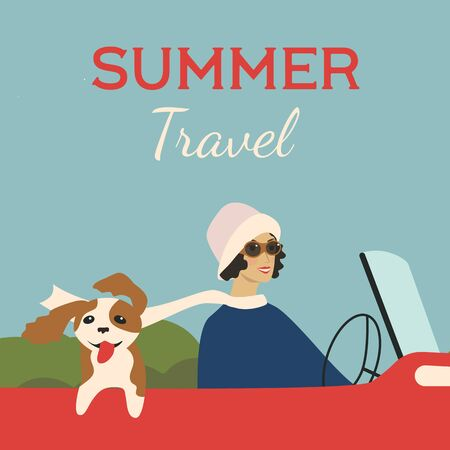 Summer travel. 1920s style illustration. Girl travels with dog