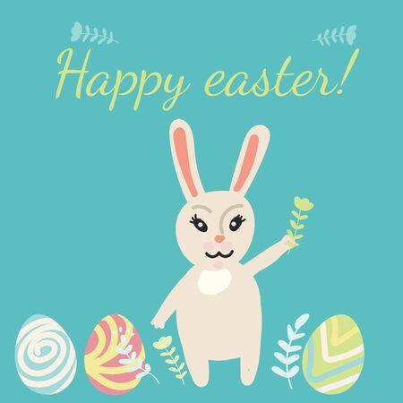 Easter card. Rabbit, eggs, flowers. Doodle stile. Pastel colors