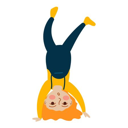Little redhaired girl stands upside down. Vector Concept illustration in flat cartoon style.