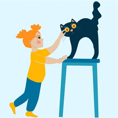 Little red-haired girl stroking cat. Vector Concept illustration in flat cartoon style. Çizim