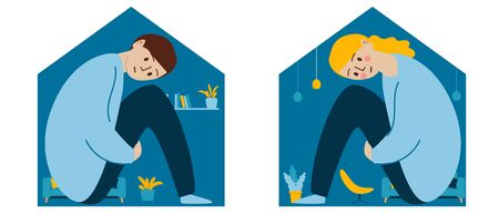 Sad girl and boy sitting locked at home, self-isolation, quarantine, concept. Relationship problems and adolescent psychology. A person feels cramped and claustrophobic while locked up. Illustration