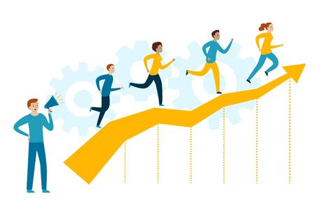 People runs up to the stairs as a concept of coaching. Coach yells into a megaphone. Teamwork and Training. Corporate Education. Inspirational Courses. Company Workshop.