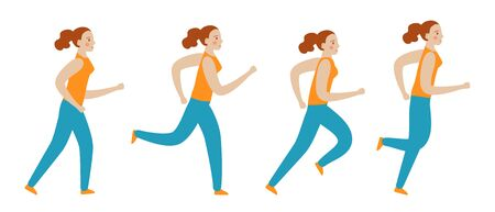 Fit girl walking, jogging, running, jumping. Set vector concept illustration in flat cartoon style.