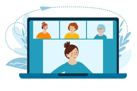 Videoconference at home. Friends chatting video call. Man, woman and elderly lady on laptop screen. Vector Concept illustration in flat cartoon style.
