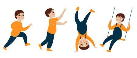 Little toddler boy swinging on swing, running, standing upside down. Set vector Concept illustration in flat cartoon style.