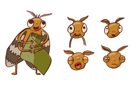 Moth with different emotions. Pest Control Character. Vector Concept illustration in handdraw cartoon style.