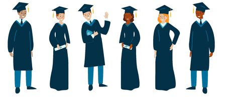 Set of various college or university graduates isolated on a white background. Different nationalities and clothing styles. Vector illustration in flat cartoon style. Иллюстрация
