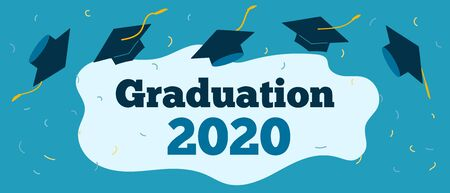 Graduation 2020 caps confetti. Flying students hats with golden ribbons isolated. University, college school education vector. Vector illustration