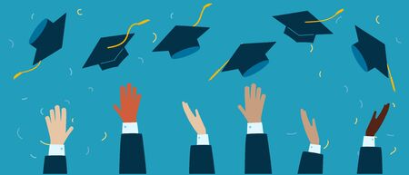 WebGraduation 2020 caps confetti. Flying students hats with golden ribbons isolated. University, college school education vector. Illustration in flat cartoon style. Vector illustration