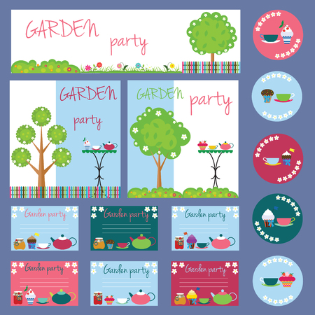 garden party collection for your design and scrapbooking Illustration