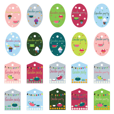 garden party: garden party collection of tags for your design and scrapbooking