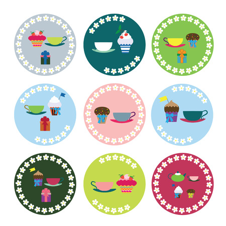 Garden party collection of labels for your design and scrapbooking