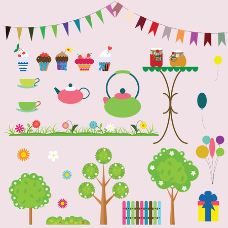 garden party: Garden party elements collection for your design and scrapbook. Vector illustration Illustration