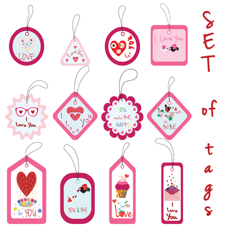 air baloon: Set of Valentine Gift Tags with cupcake, love, flower, heart, flowers, kiss, birds, air baloon and envelope in Pink and White. Holiday illustrations and wishes. Perfect for design and holiday greetings with love theme