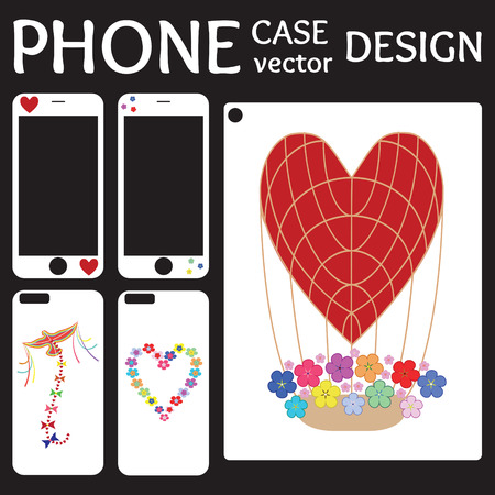 aerostat: Mobile phone screen and cover back collection with flowers, kite, aerostat and heart on white background. Set of Illustration and template for phone case.