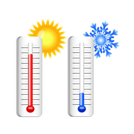 thermometers with sun and snowflake