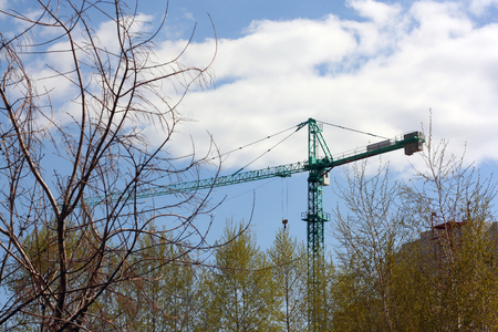hoisting crane in the middle of the trees Stock Photo