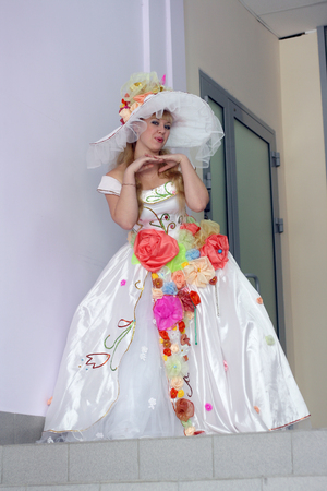 young pretty actress in a role of fairy