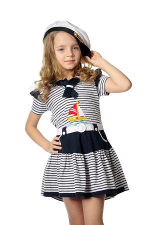 beautiful little girl in the marine dress