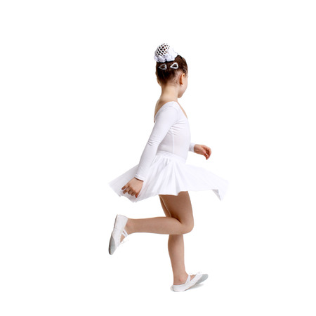 cute little girl dancing ballet isolated in white