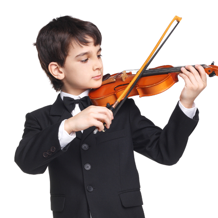 little handsome boy playing the violin isolated on white 写真素材