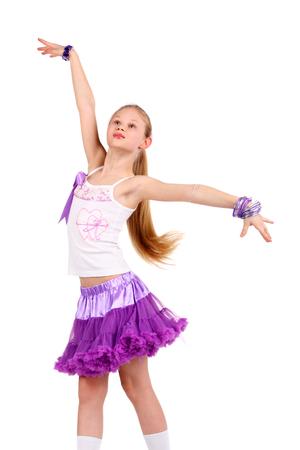 closeup image of a dancing beautiful blonde teenage girl