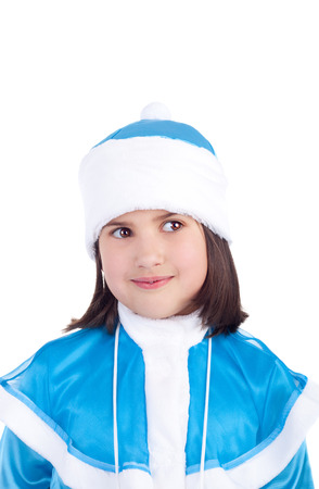 little girl in the costume of the Snow Maiden Stock Photo