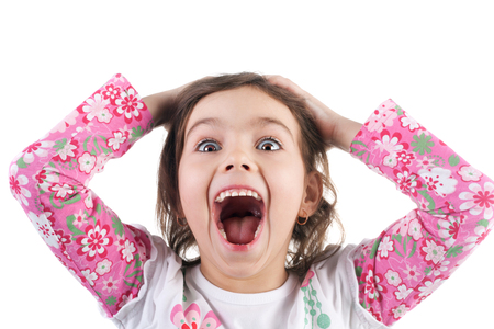 cute emotional little girl joyful crying