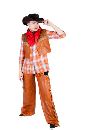 closeup image of the young cowboy Stock Photo