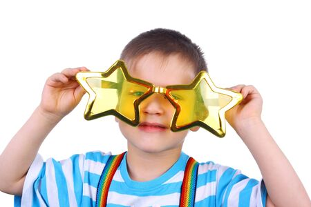 little boy in the yellow humorous star glasses