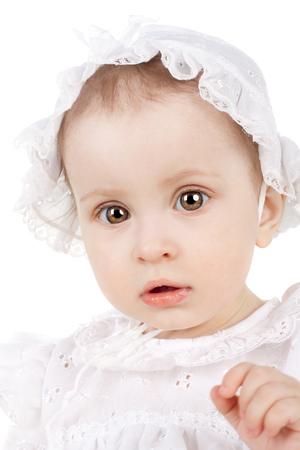 cute sweet little baby girl posing 스톡 콘텐츠