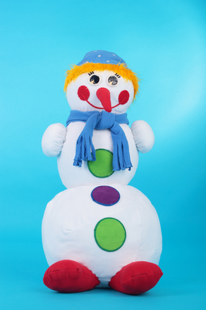 closeup image of the snowman made of textile