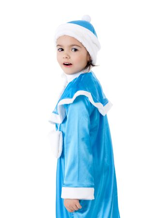 pretty little girl in the costume of the Snow Maiden