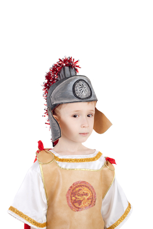 kid in the costume of the roman legionary Stock Photo