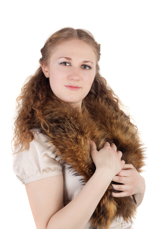 pretty young lady in the fur tippet Stock Photo