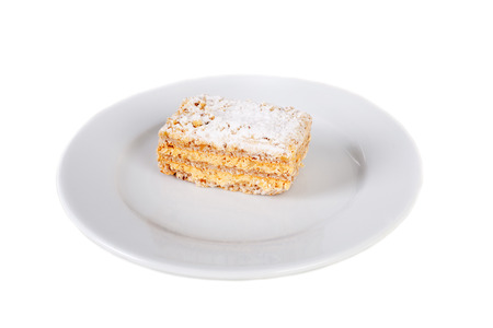 multilayer biscuit cake on the plate Stock Photo