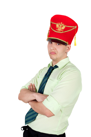 young handsome businessman in the hussar cap Stock Photo