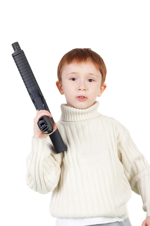 little boy with the weapon Stock Photo