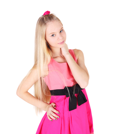 pretty teenage girl in the pink dress