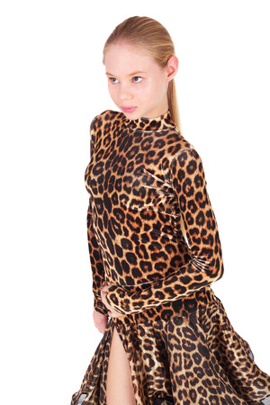 pretty little girl dancing in the leopard dress