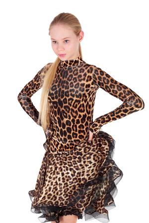 pretty teenage girl dancing in the leopard dress