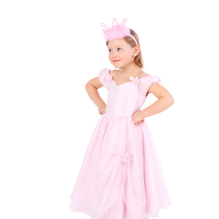 cute sweet emotional little child dressed as a princess