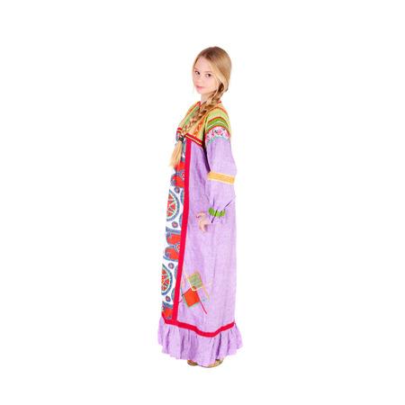 pretty teen girl wearing russian folk clothes Stock Photo