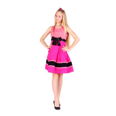 pretty teenage girl in the pink dress Archivio Fotografico - 129123470